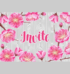 Invitation with sakura or cherry blossom floral vector