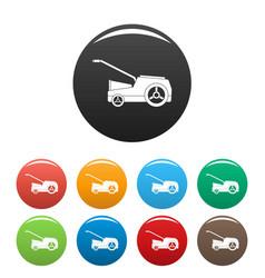 Lawn mower machine icons set color vector