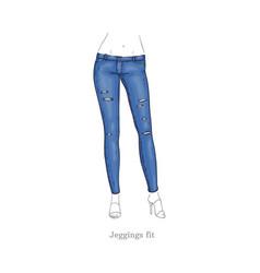 Leggings fit style jeans female denim pants vector