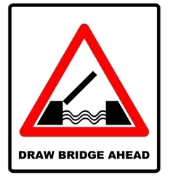 Lifting bridge warning sign icon in flat style on vector image