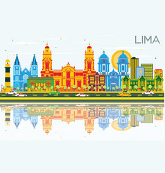 Lima skyline with color buildings blue sky and vector