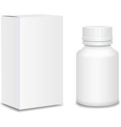 Medicine bottle on white background White plastic vector image