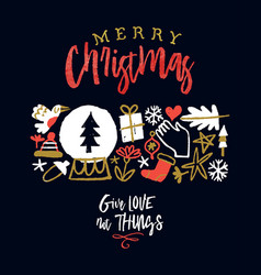 merry christmas greeting card holiday doodle vector image