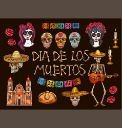 mexican day dead skulls and skeleton symbols vector image