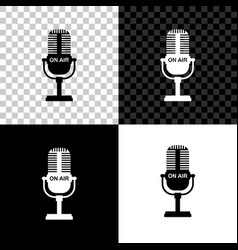 microphone icon isolated on black white and vector image