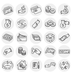 money and finance thin line set on circles white vector image