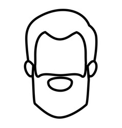 monochrome contour of faceless man with short hair vector image