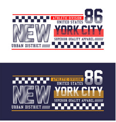 new york city 86 typography t-shirt graphics vector image