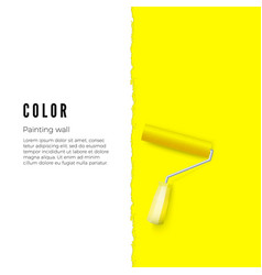 paint roller with yellow paint and space for text vector image