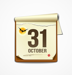 Paper October calender in halloween party vector image