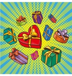 Presents and gifts boxes vector