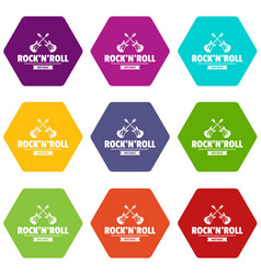 rock n roll icons set 9 vector image
