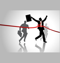 Running businessman at finish line vector