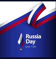 Russia day flag template design vector