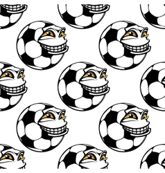 Seamless pattern of a happy soccer ball vector
