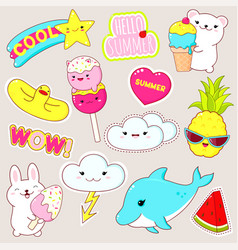 set cute summer stickers in kawaii style vector image