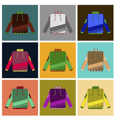 Set of icons in flat design skiing sweater vector