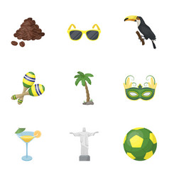 set of icons on the subject of brazil brazilian vector image