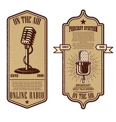 set vintage podcast radio flyers vector image