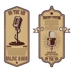 Set vintage podcast radio flyers vector