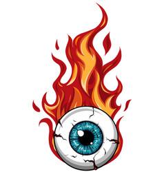 Single eyeball on fire in flames vector