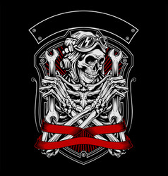 Skull wearing a helmet holding a wrench vector