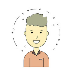 Smiling guy character minimalism cartoon flat vector