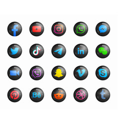 social media modern 3d round black icons set vector image