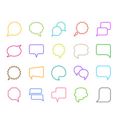 Speech bubble simple color line icons set vector