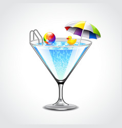 Swimming pool in martini glass vacation concept vector