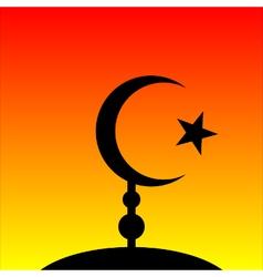 Symbol of islam on sunset background vector