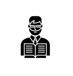 teacher black icon sign on isolated vector image