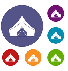 tent with a triangular roof icons set vector image
