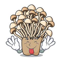 Tongue out enoki mushroom mascot cartoon vector