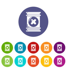 Toxic waste container icons set color vector