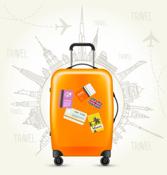 trip round the world - travel poster suitcase vector image