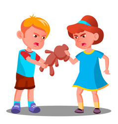 Two children quarrel over a toy isolated vector