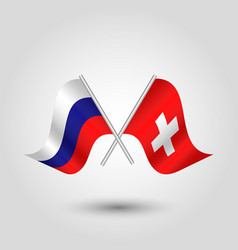 two crossed russian and swiss flags vector image