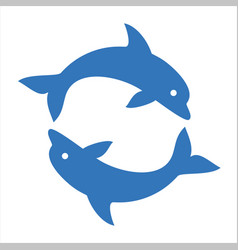 Two dolphins circle vector