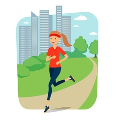 Urban sports young woman jogging for fitness in vector