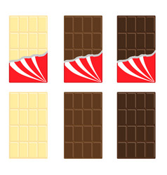 white milk dark chocolate bar icon set opened vector image