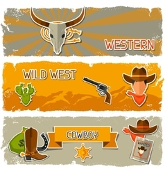 Wild west banners with cowboy objects and stickers vector image