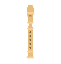 Wood flute flat icon music and instrument vector