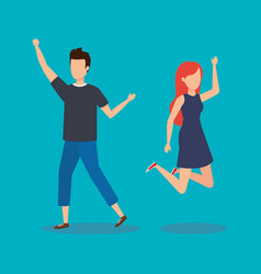 Young couple happy jumping vector