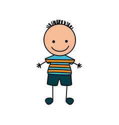 colorful hand drawing cute boy with striped shirt vector image vector image