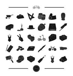 art transport and other web icon in black style vector image vector image