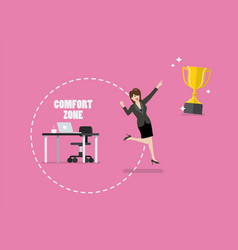 business woman trying to break out of her comfort vector image