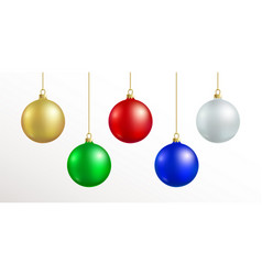 christmas decoration red blue silver gold vector image
