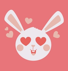 Cute bunny head crazy in love vector
