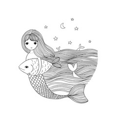 cute cartoon mermaid and fish siren sea theme vector image vector image